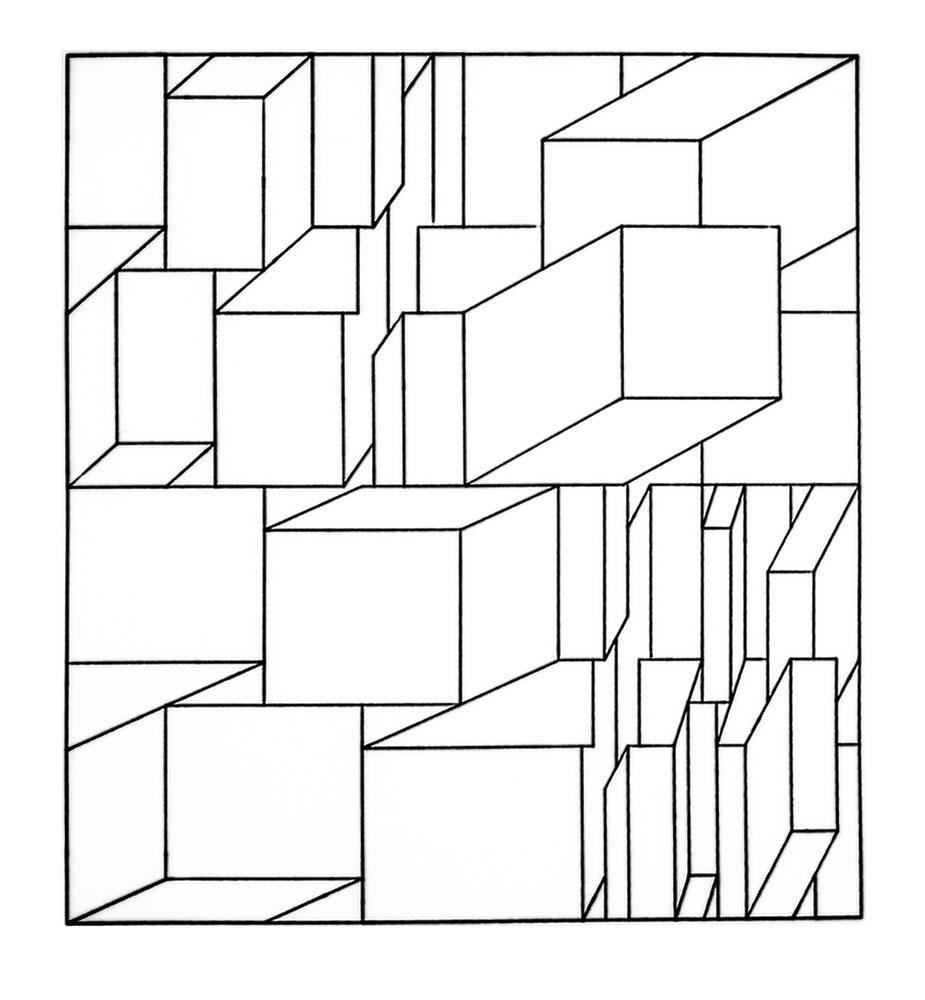 Edwad Zajec, Prostor 2, plotter drawing, ink on paper, 43 x 43 cm, 1969