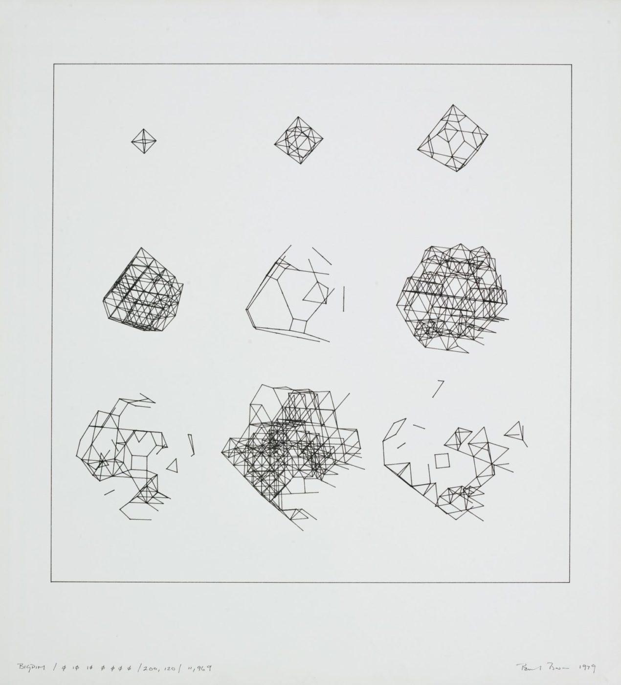 Paul Brown, Bigdim, plotter drawing, ink on paper, 1969