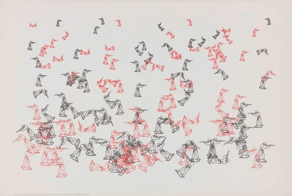 Charles Csuri / James Shaffer, Random War, silk screen after plotter drawing, ink on paper, 51 x 76 cm, 1967