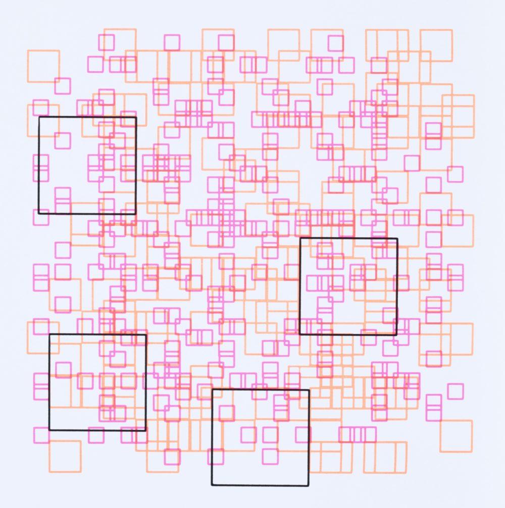Herbert W. Franke, Squares, silkreen print based on a plotter drawing, 50 x 50 cm, 1970