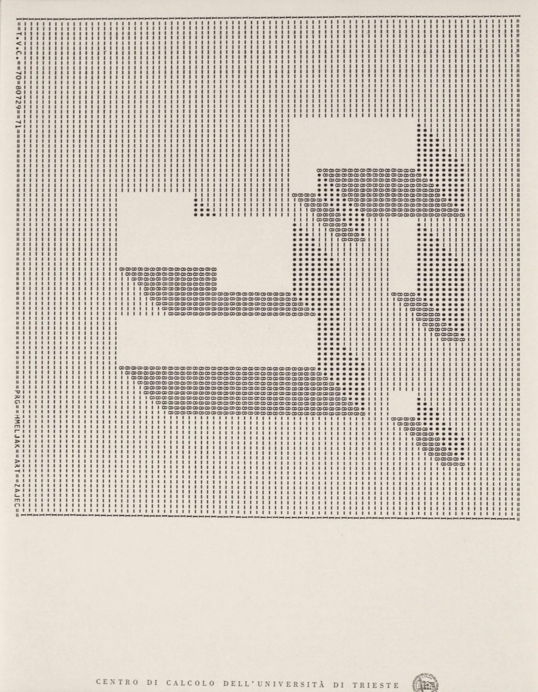 Edward Zajec, T.V.C. 70, plotter drawing, ink on paper, 40 x 28, 1971