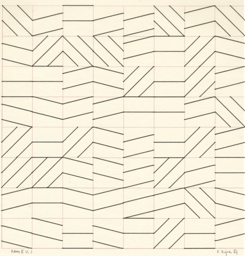 Edward Zajec, RAM5, plotter drawing , ink on paper, 1969