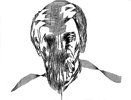 Charles Csuri / James Shaffer, Sine Curve Man, plotter drawing, ink on paper, 104 x 104 cm, 1967